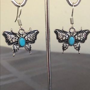 Butterfly earrings with turquoise stone NWT